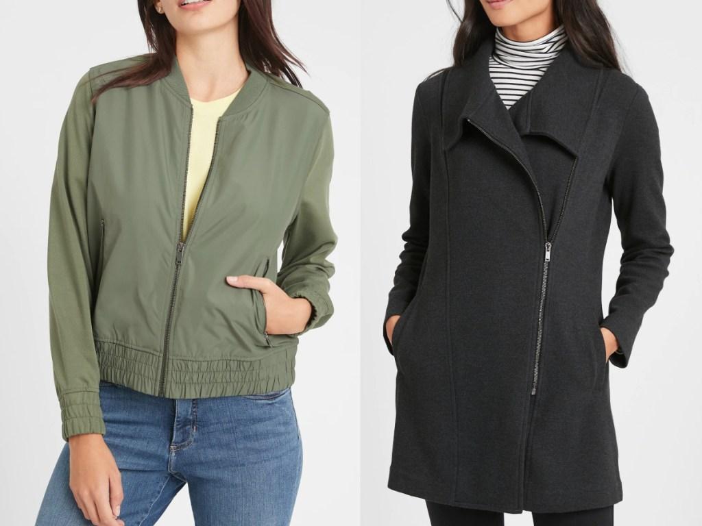 women wearing jackets from banana republic