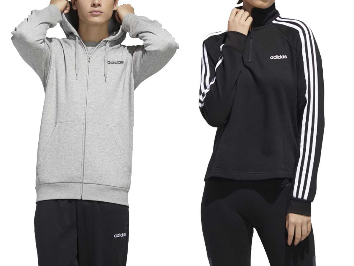 men's and women's sweatshirts on models