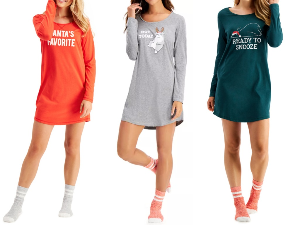 3 women standing next to each other wearing cozy long sleeve night shirt