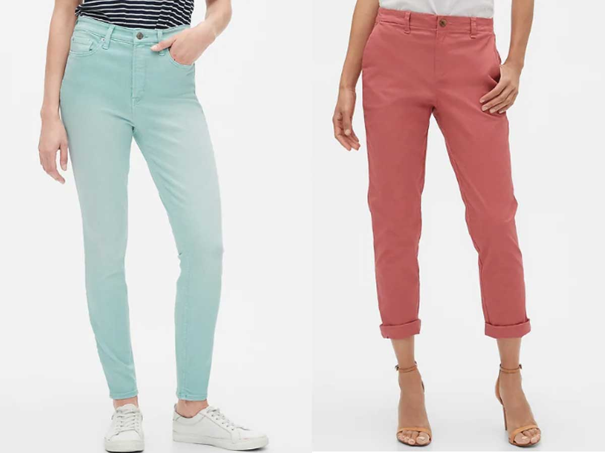 side by side stock images of women wearing jeans and cropped pants