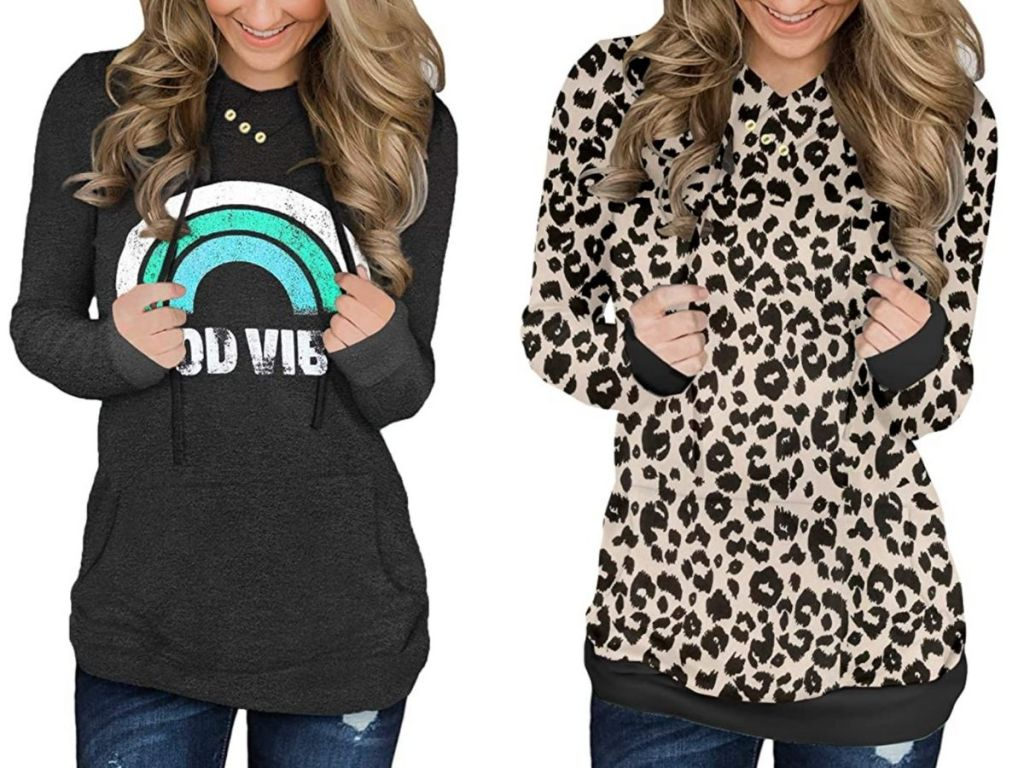 woman wearing good vibes sweater and leopard sweater