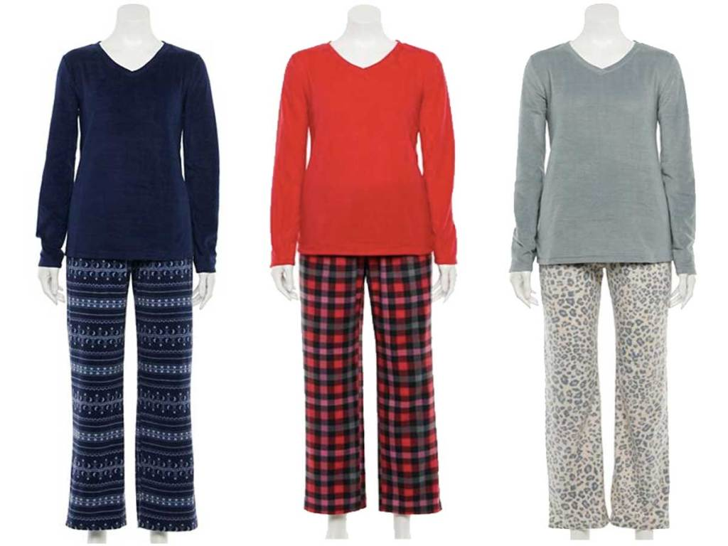 set piyama wanita dalam tiga gaya