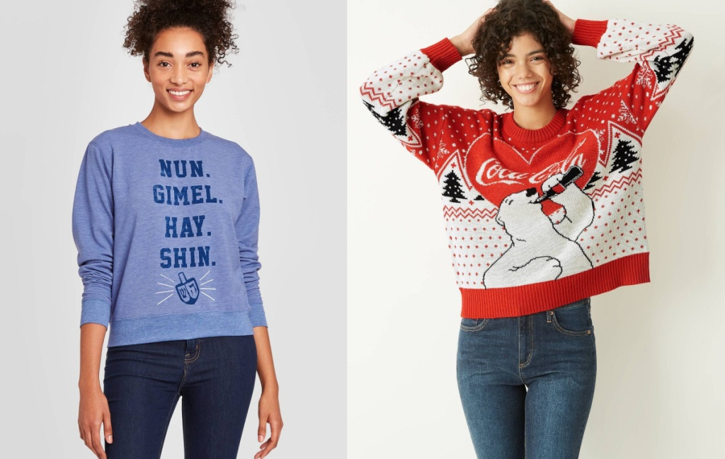 womens ugly sweaters hannakuh and coco cola