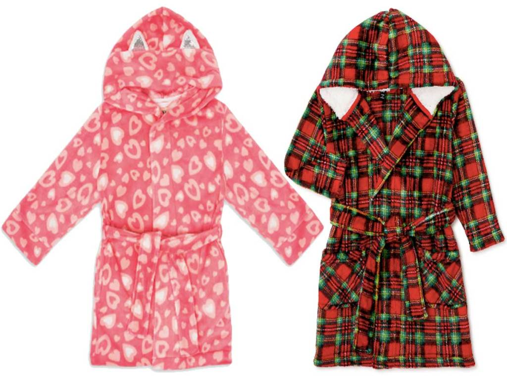 girls hooded robes heart and plaid