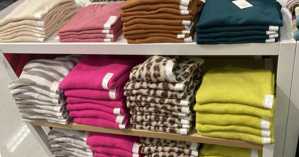 A New Day Target Sweaters on display