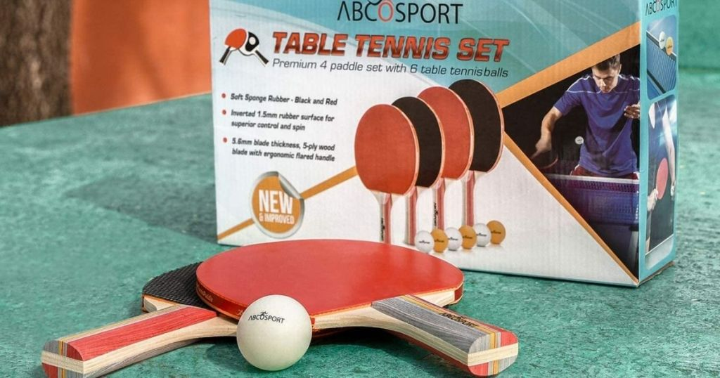 table tennis set box and two paddles and ping ball ball