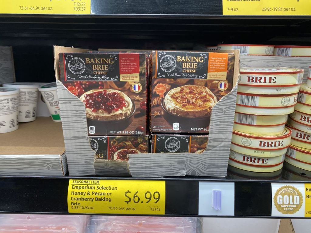 display of baked brie at ALDI