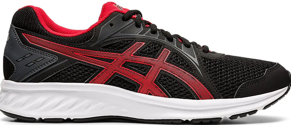black, white and red running shoes