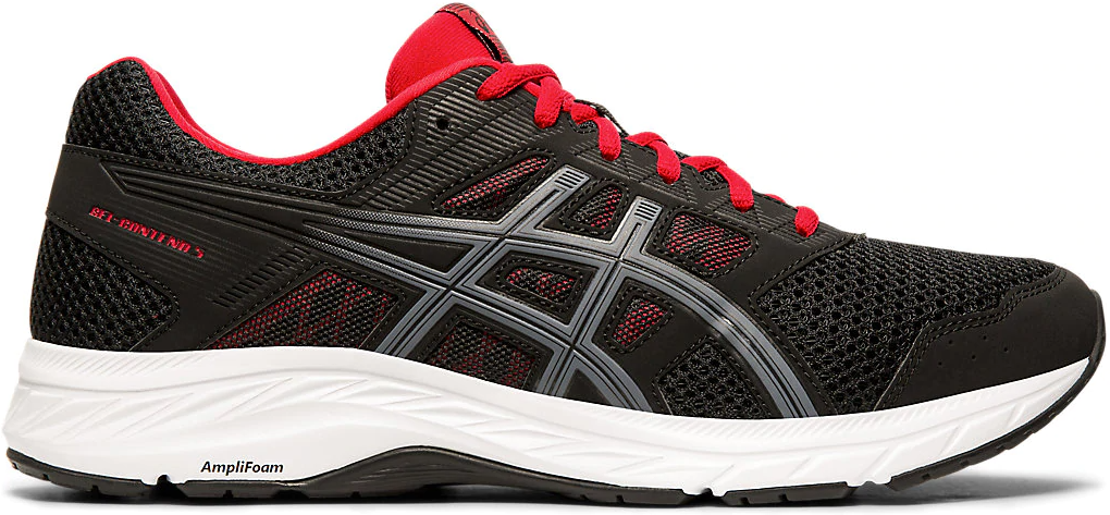 black, white and red running shoe