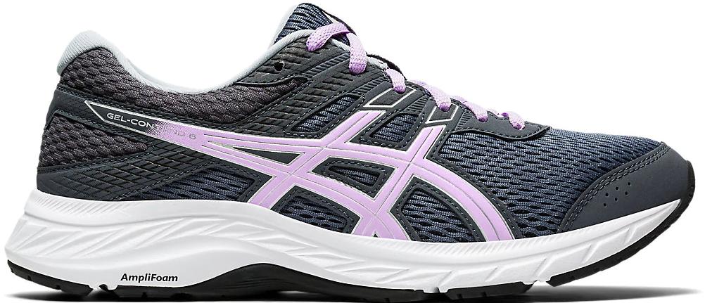 black, white and purple running shoe