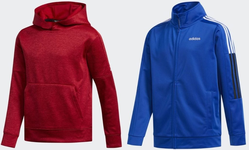 Dua atasan Adidas Kids termasuk hoodie pullover dan jaket track