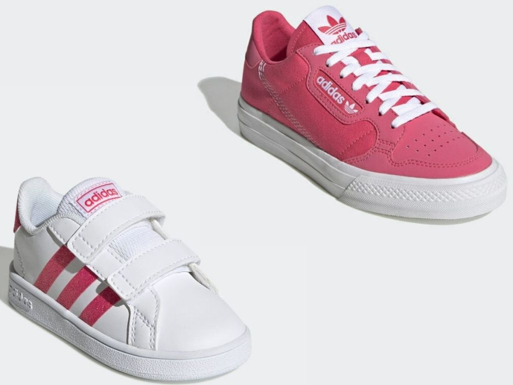 two pairs of adidas girls sneakers