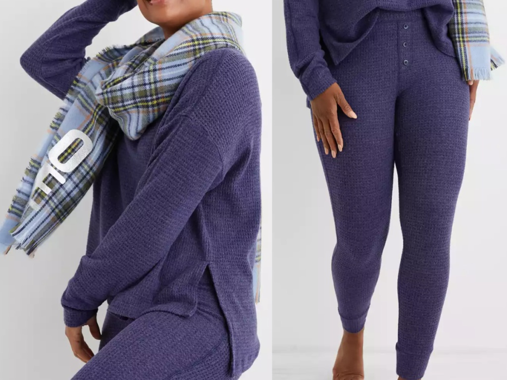 woman wearing waffle knit pajamas