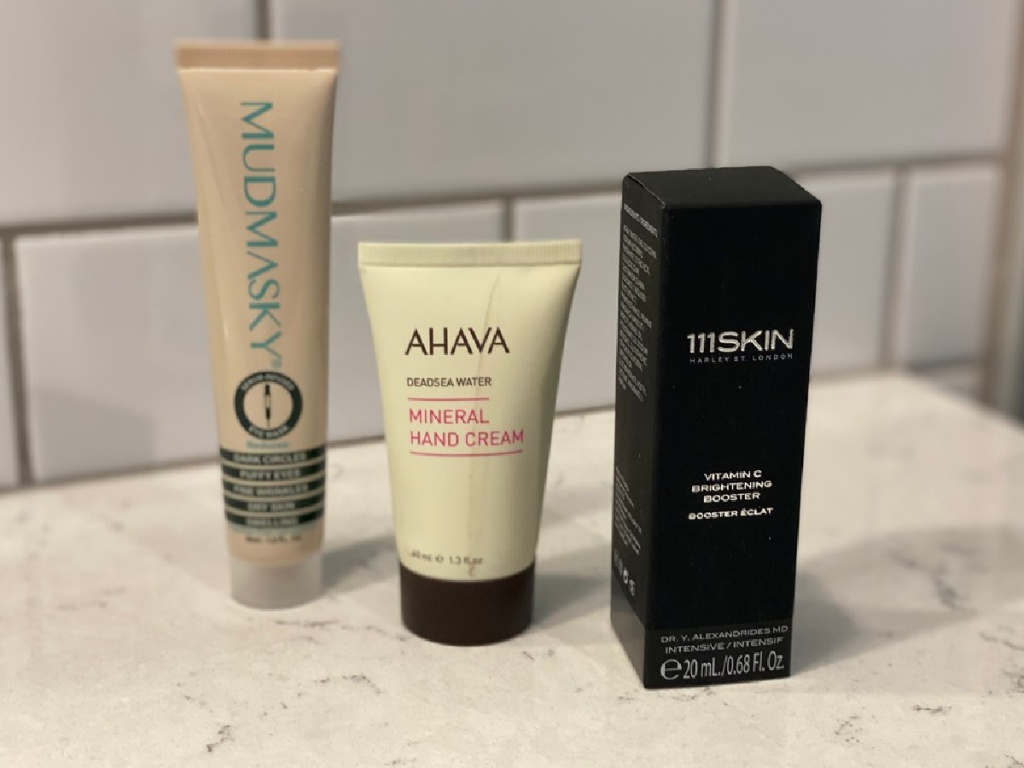 three full sized beauty products on a countertop