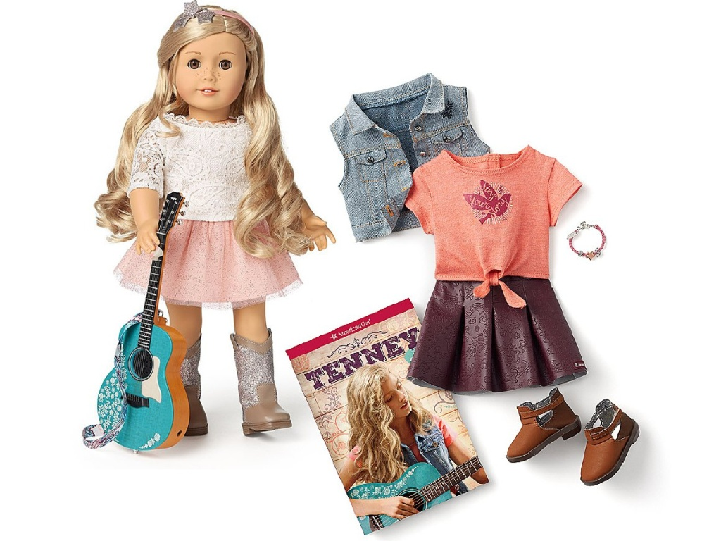 American Girl doll, guitar, clothing, jewelry, and book accessories