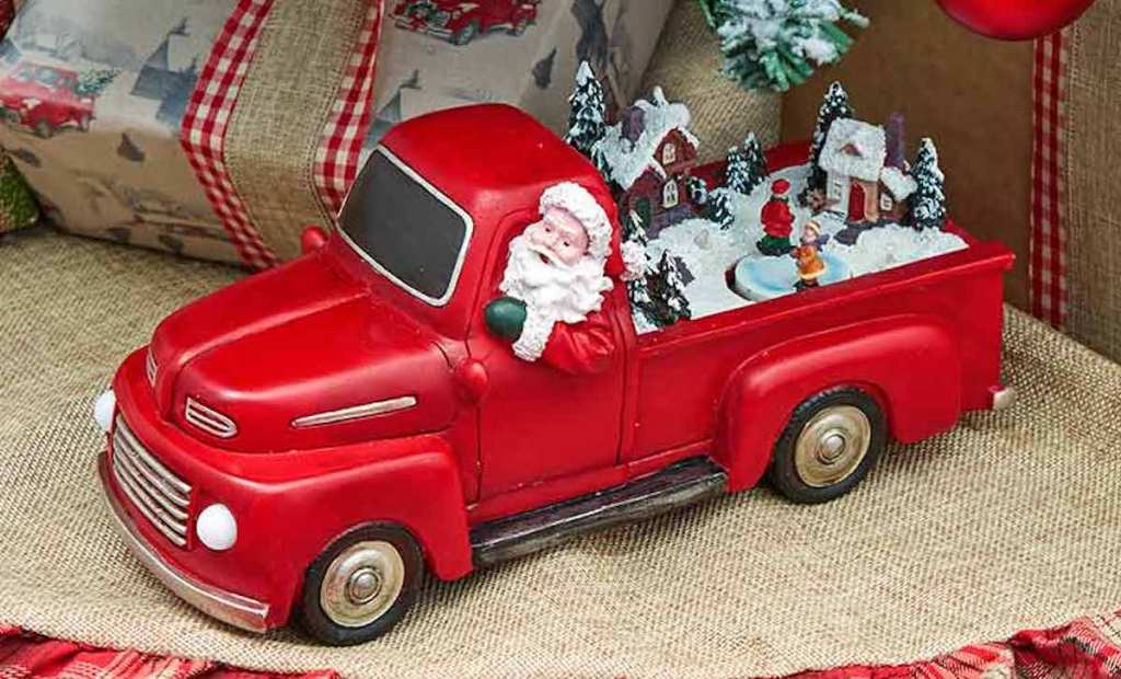 Animated Christmas Pick-Up Truck under christmas tree with burlap tree skirt