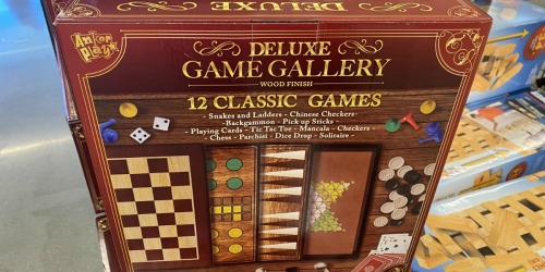 Deluxe Wooden Game Gallery Only $14.99 at ALDI | Includes 12 Classic Games