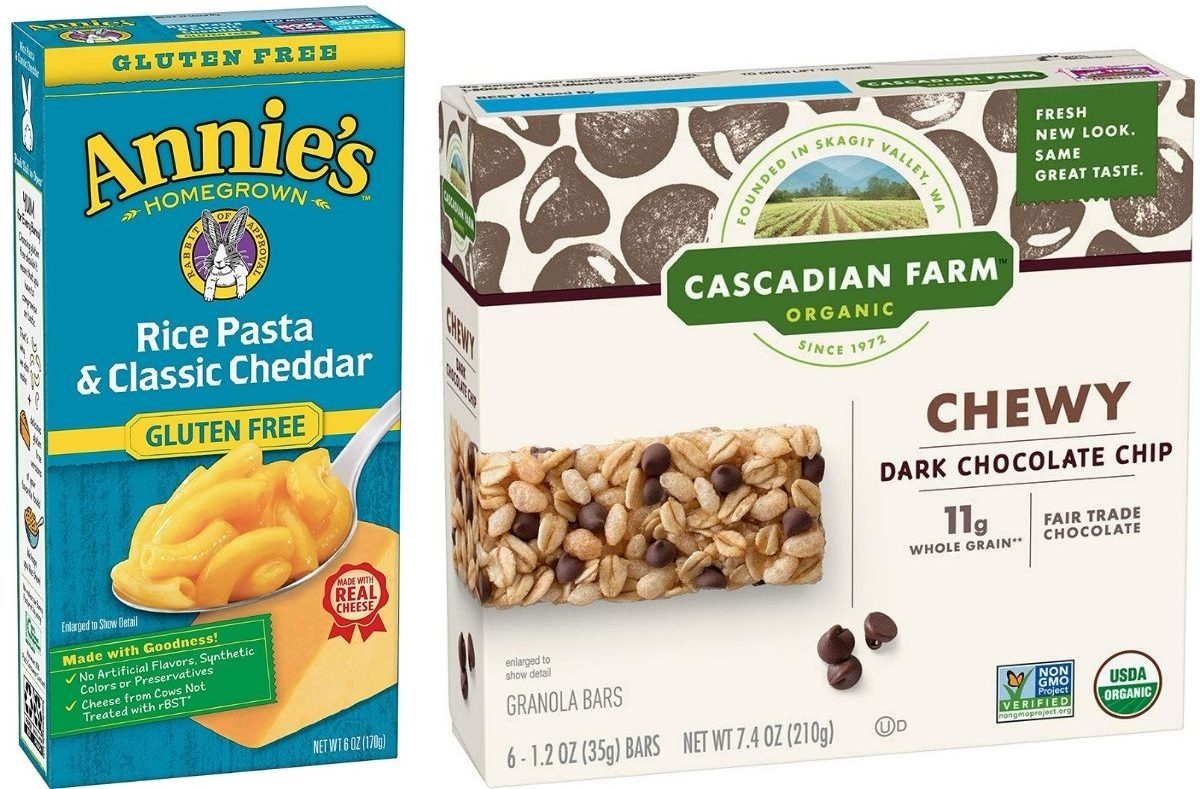 Annies Gluten Free Mac Cheese and Cascadian Farm Granola Bars