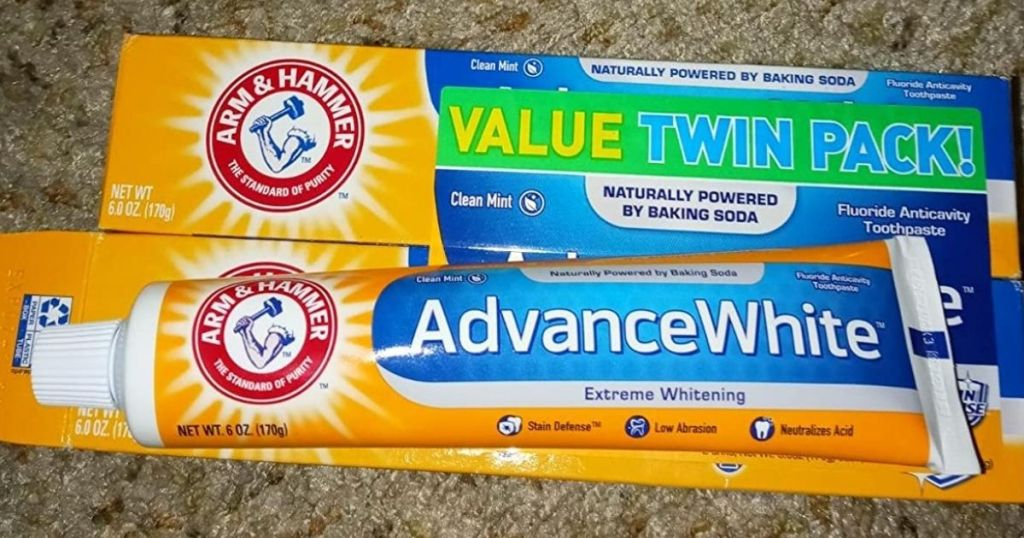 toothpaste on top of box of toothpaste