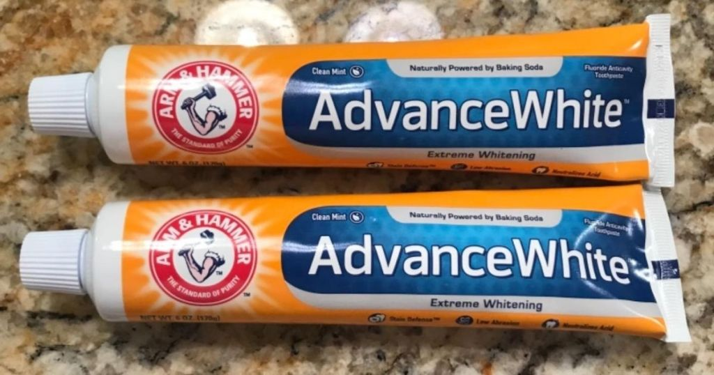 two tubes of toothpaste
