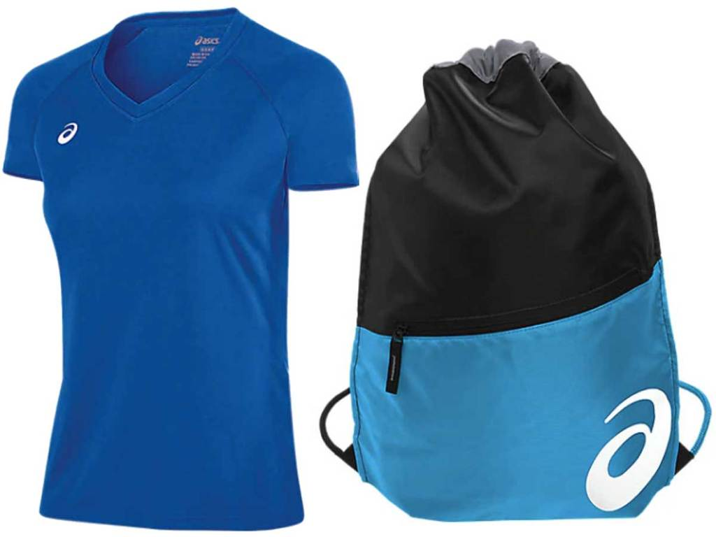 women's shirt and an athletic bag
