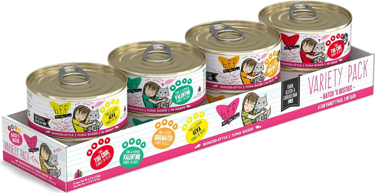 A variety pack of cat food cans