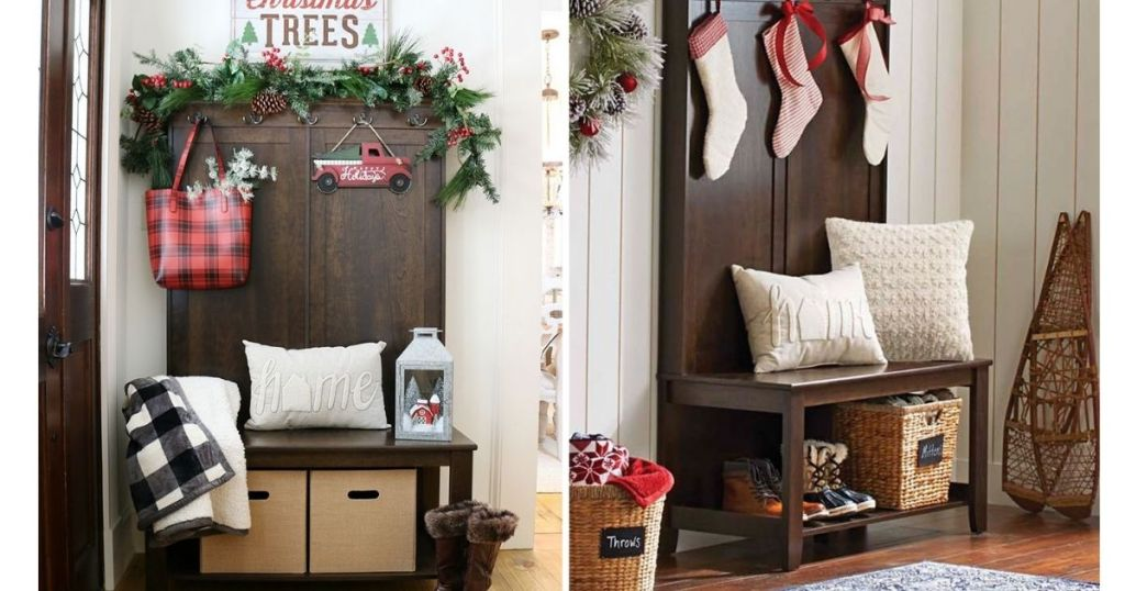 BHG Parker Hall Tree Bench Decorated For Holidays
