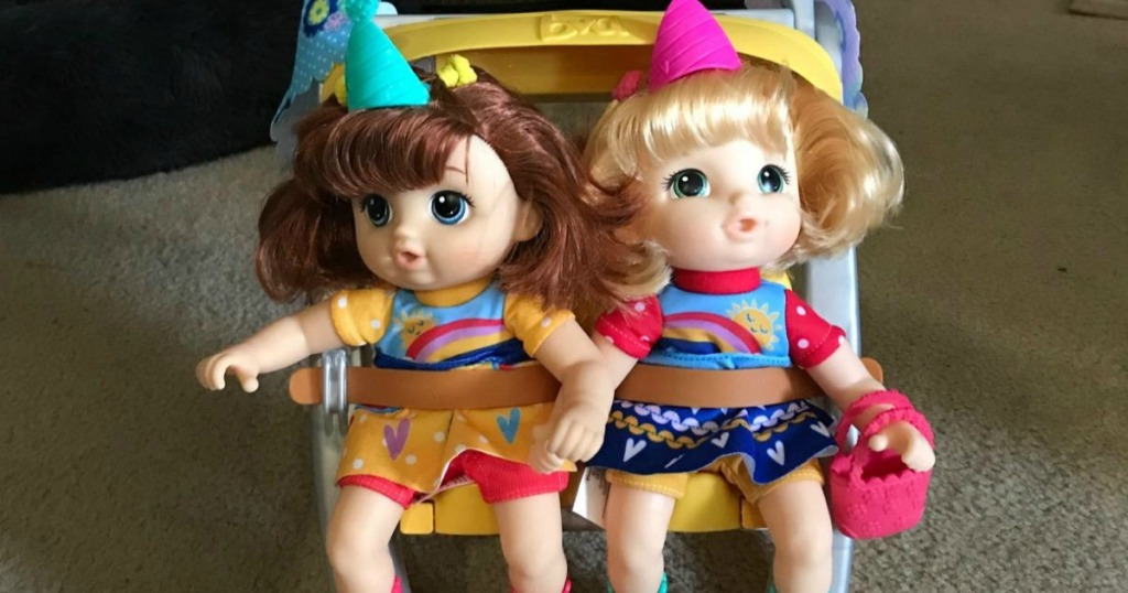 Baby Alive Littles Shop 'N Stroll Twins Set in living room