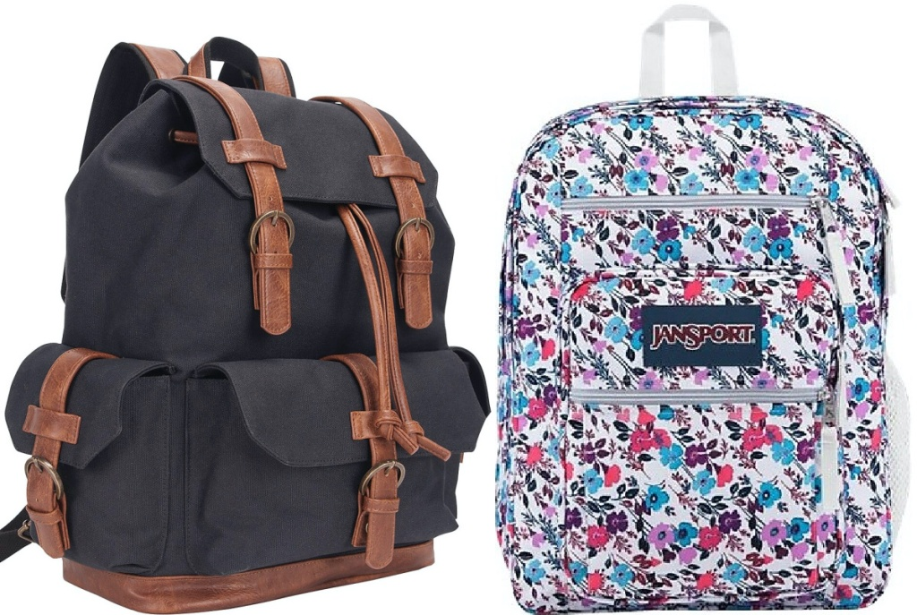 black and brown backpack and floral backpack