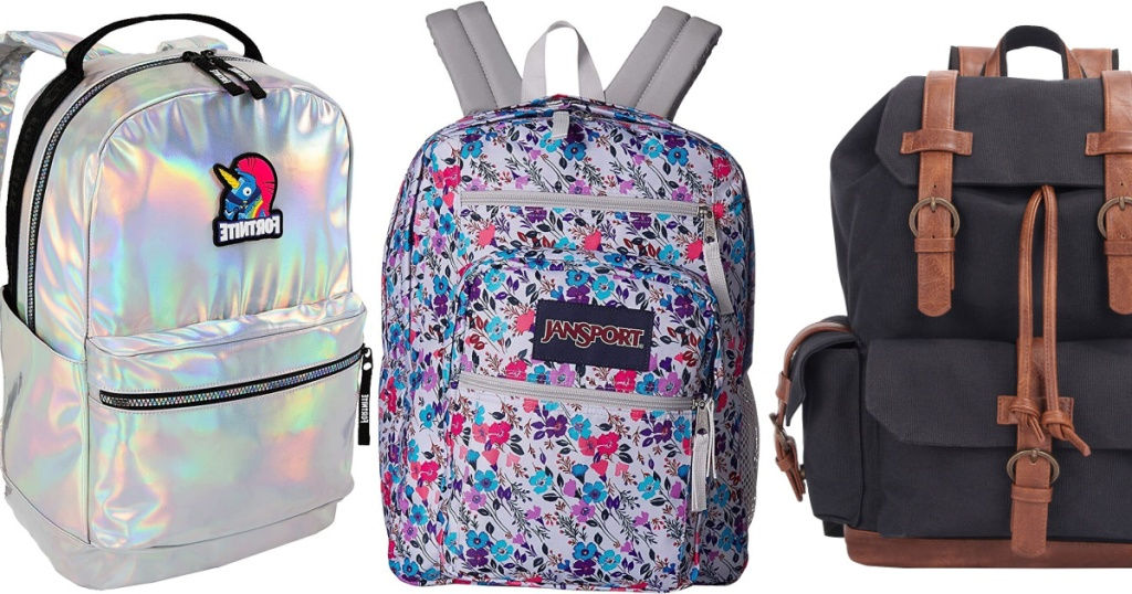 silver Fornite backpack, floral backpack, and black and brown backpack