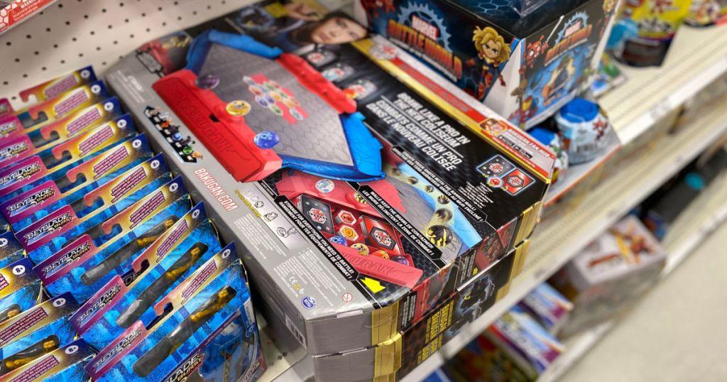 bakugan toys on shelf