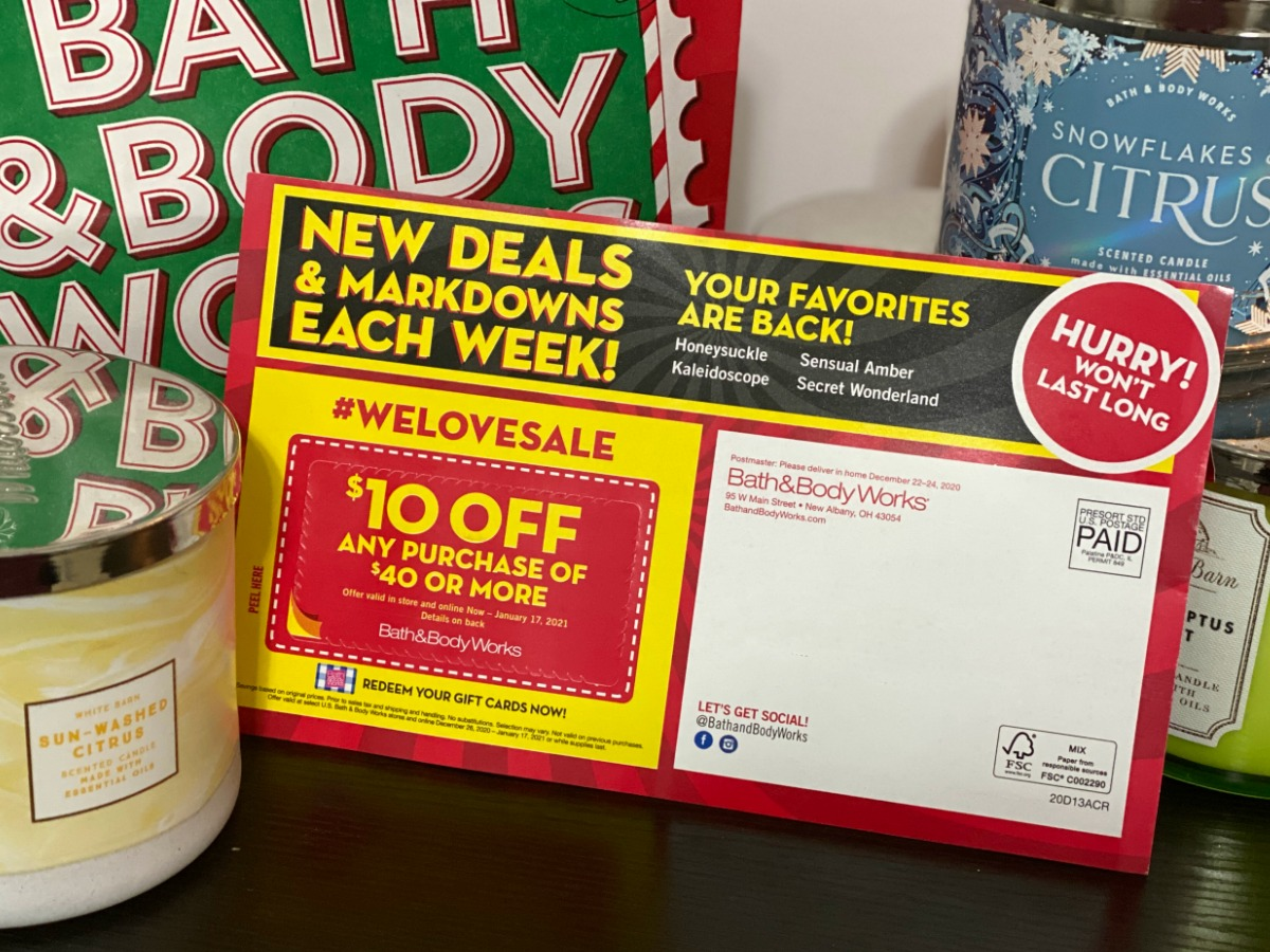 Coupon mailer from Bath & body Works
