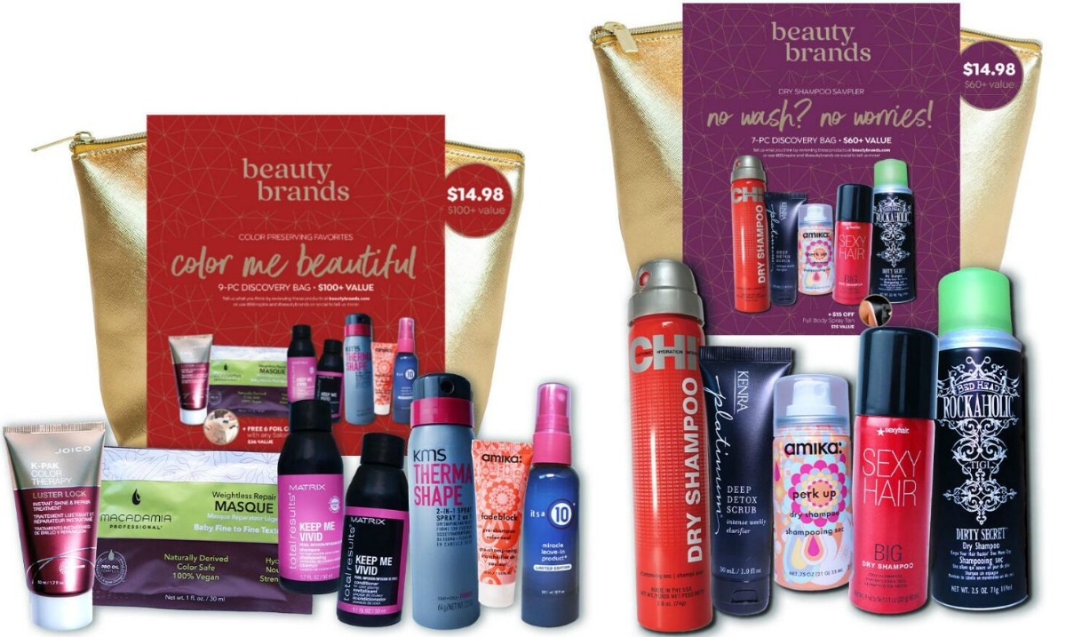 Two sets of Beauty Brands discovery bags with beauty products