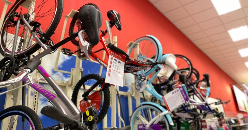 bikes hanging on rack