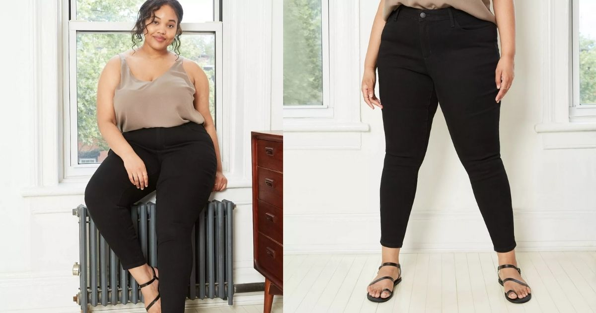 2 views of girl wearing Black Plus Size Jeans