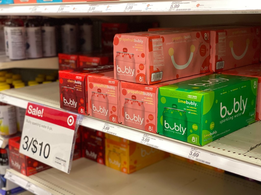 Bubly Soda on Target Shelf
