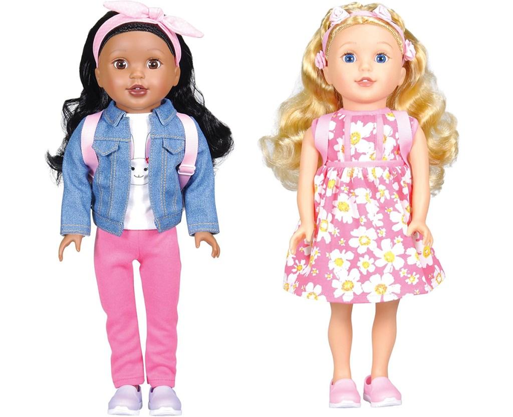 "dua 15"" boneka dengan rambut hitam dan pirang"