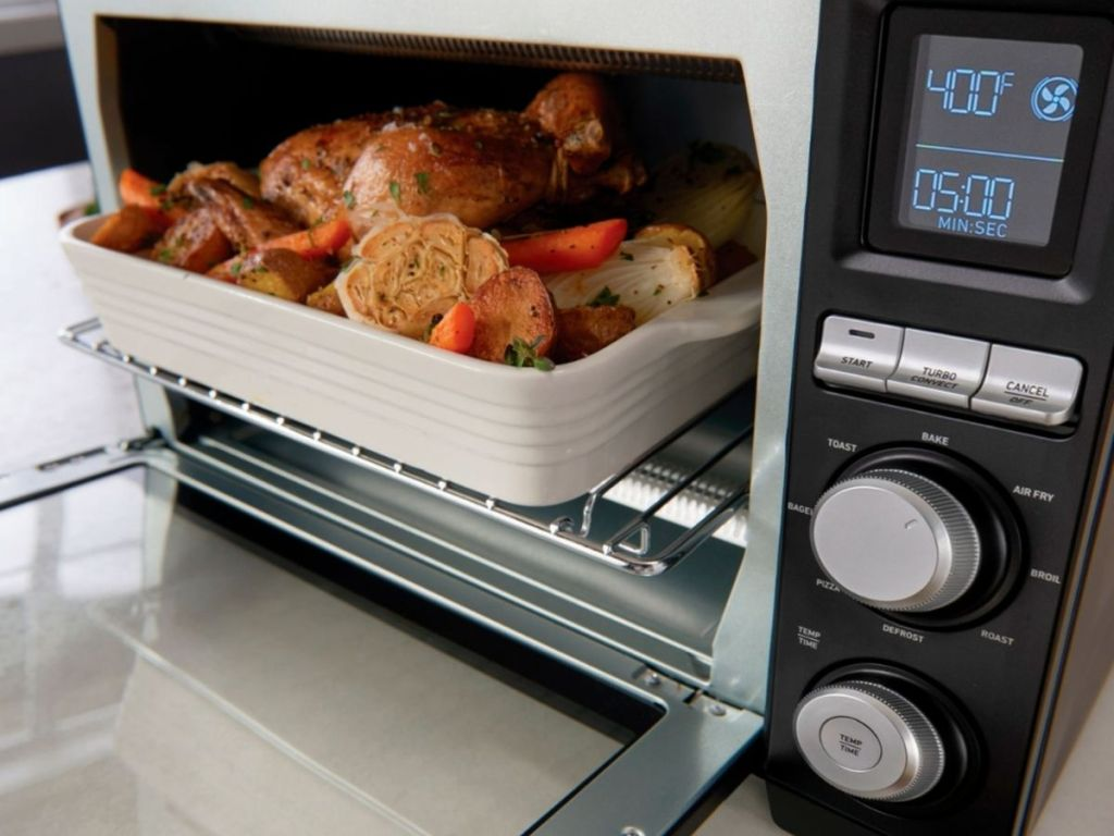 Calphalon Precision Air Fry Convection Oven door open with roasting dish inside