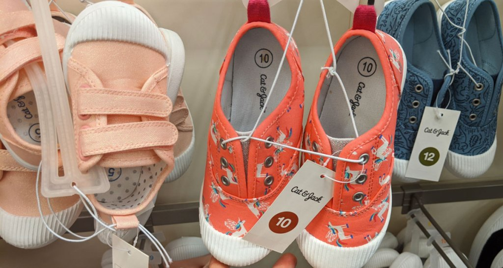 pairs of toddler gils cat & jack sneakers on display at target