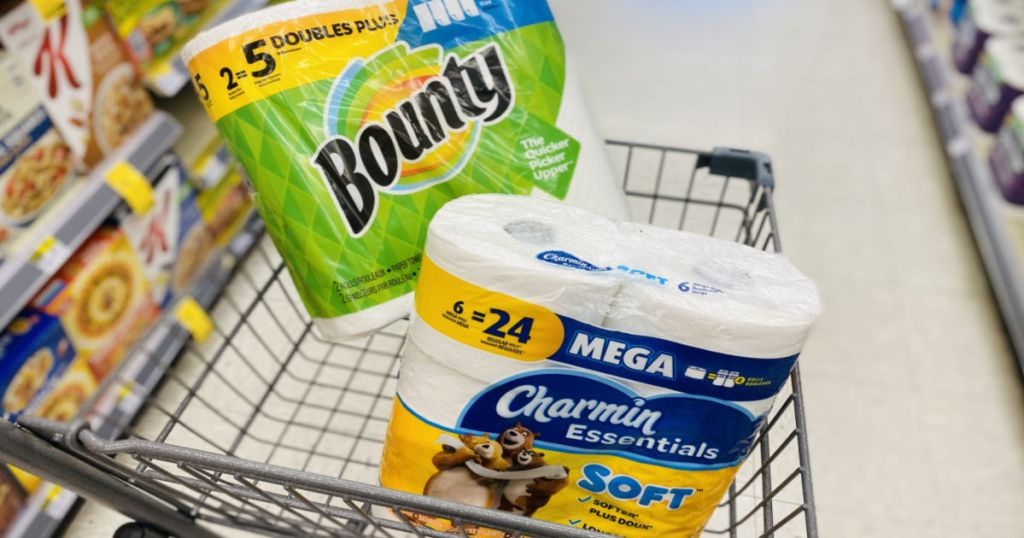 paper towels and toilet paper in cart
