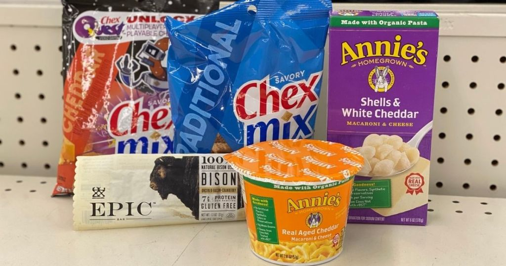 Chex Mix, Epic Bar and Annie's mac & cheese