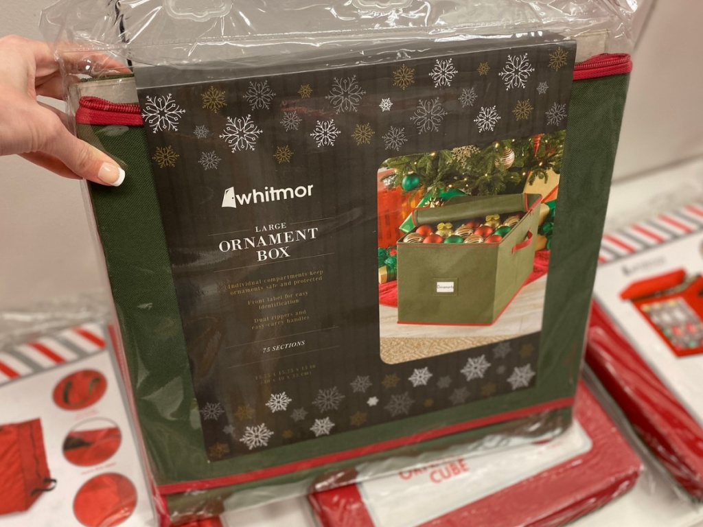 large 75 section green and red ornament storage box at kohl's