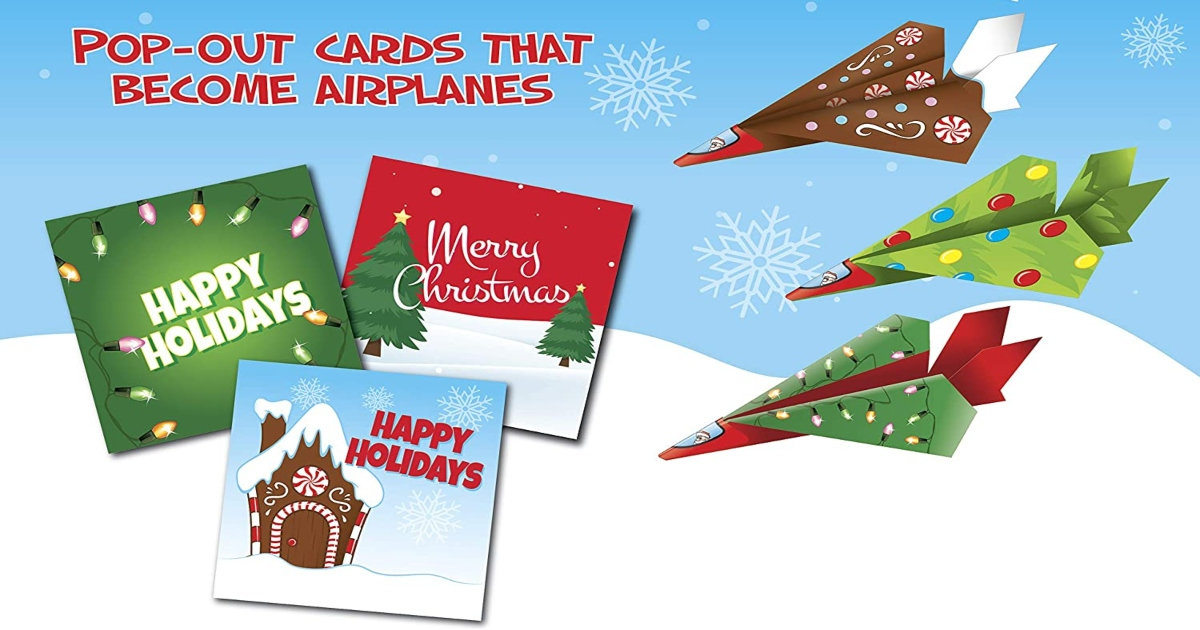 Christmas airplane pop outcards with a snowy cartoon background
