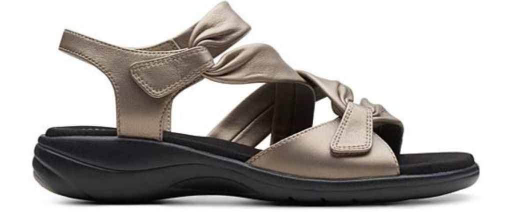 Clarks Womens Pewter Saylie Moon Leather Sandal