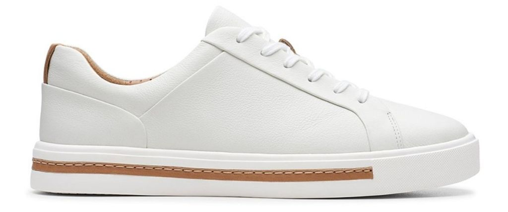 Clarks Womens White Un Maui Leather Sneaker