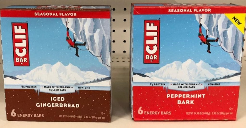 Clif Seasonal Energy bar Iced Gingerbread atau Peppermint Bark