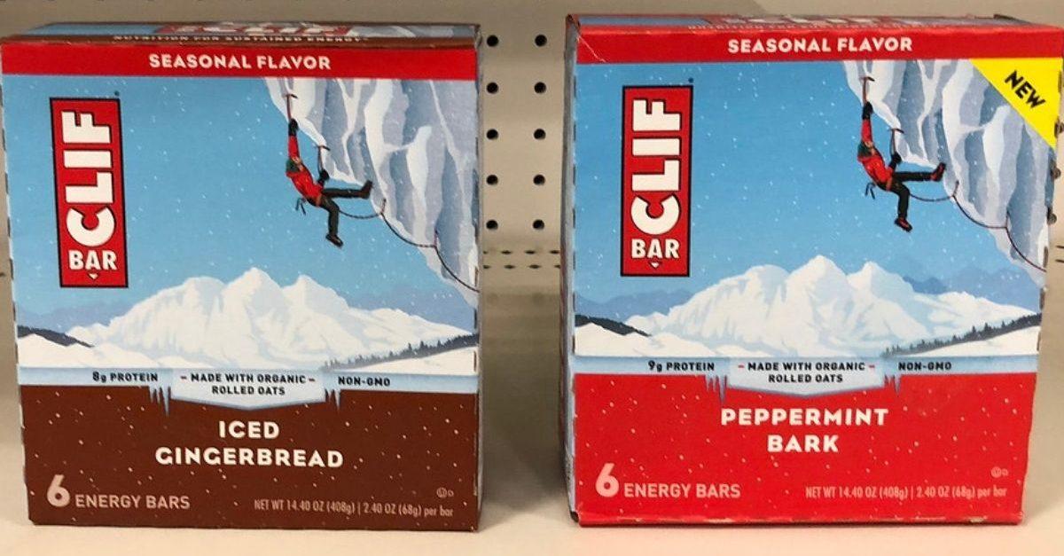 Clif Seasonal Energy bars Iced Gingerbread or Peppermint Bark