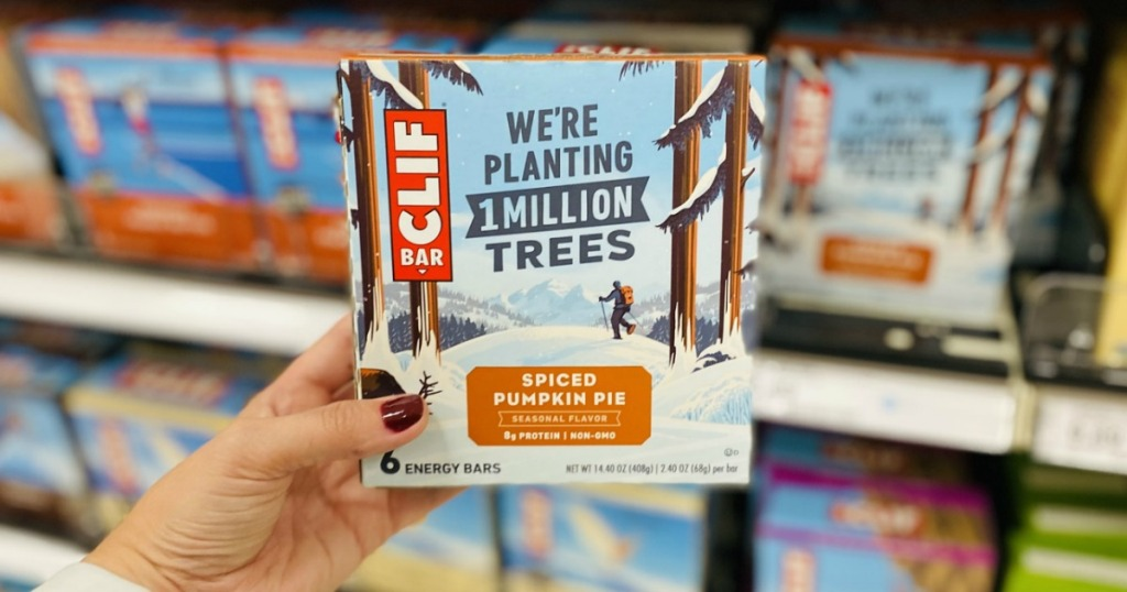 hand holding a box of Clif Pumpkin Pie Bars