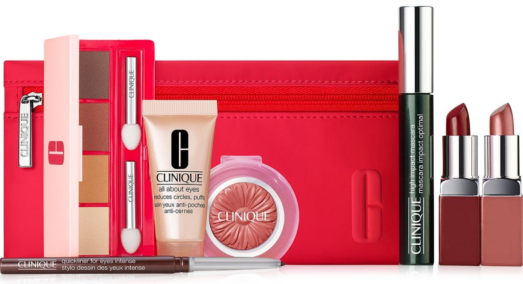 red clinique bag with cliniuqe beauty products in front of it