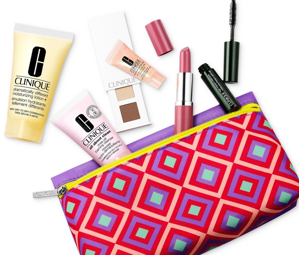 cosmetic bag with clinique skincare and cosmetics coming out of it